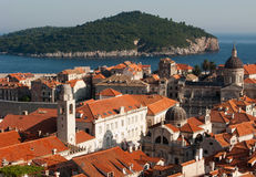 Dubrovnik view. This is a close picture of Dubrovnik red and orange roofs and distant island behind stock image