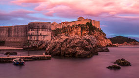 Dubrovnik wall. An evening in Dubrovnik during sunset time Stock Images