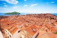 Dubrovnik from the wall and Lokrum island Royalty Free Stock Photography