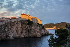 Dubrovnik walls. View of old Dubrovnik city walls at sunset Royalty Free Stock Image