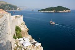 Dubrovnik-Wand und -ozean lizenzfreies stockbild