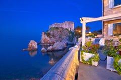 Dubrovnik waterfront and Lovrijenac landmark night view. Dalmatia region of Croatia Stock Image