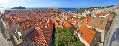Dubrovnikdaken en achterstraten stock foto's