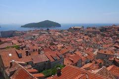 Dubrovniks röda tak, Kroatien Arkivbild