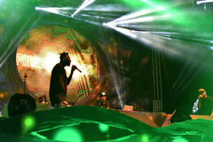 Dubstep live concert. CLUJ NAPOCA, ROMANIA - AUGUST 7, 2016: English hip hop and dubstep band Foreign Beggars perform live on Alchemy stage at Untold Festival stock images