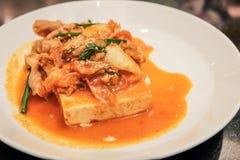 Dubu Kimchi (Tofu met be*wegen-Gebraden kimchi) Royalty-vrije Stock Afbeeldingen