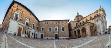 Duca Federico square and Cathedral in Urbino Royalty Free Stock Images