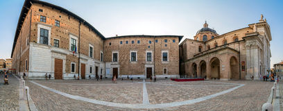 Duca Federico square and Cathedral in Urbino Royalty Free Stock Photos
