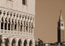 Ducal Palace and the bell tower of SAint George Church in Venice. In Italy Stock Images