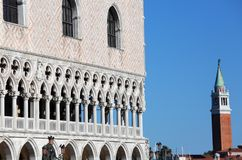 Ducal Palace and the bell tower of SAint George Church in Venice. In Italy Royalty Free Stock Photography