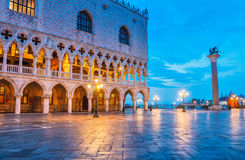 Ducal Palace on Piazza San Marco Venice. Landscape street lamp square town famous landmark Stock Image