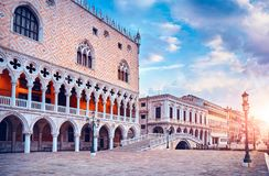 Ducal Palace on Piazza San Marco Venice. Landscape street lamp square town famous landmark Royalty Free Stock Photography