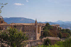 Ducal Palace, Urbino, Italy. View of the Ducal Palace from Albornoz.Urbino fortress, Italy Stock Photography