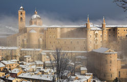The ducal palace of Urbino under winter storm Royalty Free Stock Photography