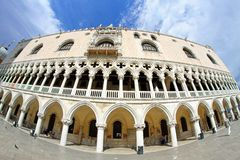 Ducal Palace in Venetian-style architecture in Venice by fisheye. Splendid Ducal Palace in Venetian-style architecture in Venice by fisheye lens Stock Images