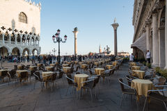 Ducal palace venice veneto italy europe. View of the ducal palace from a cafe in st mark square Stock Image