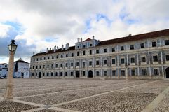 The Ducal Palace of Vila Viçosa. Photo of the Ducal Palace of Vila Viçosa - a Portuguese royal palace and a lamp - Vila Viçosa, Alentejo, Portugal stock photo