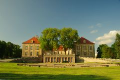 Ducal Palace in Zagan. The photograph shows the ducal palace in Zagan, located in western Poland. View from the South. In the foreground, at the base of the stock image