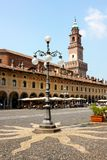 The Ducal square of Vigevano. With the Bramante tower Royalty Free Stock Photography