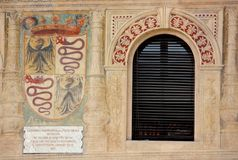 Ducal square in Vigevano, detail royalty free stock photo