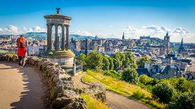 Ducald Stewart Monument. On Calton Hill in Edinburgh royalty free stock photography