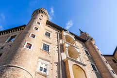 Ducale slott i den Urbino staden, Marche, Italien Royaltyfria Bilder
