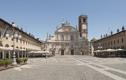 Ducale square east side, Vigevano Stock Photo