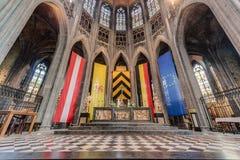 Ducasse de Mons eller Doudou i Mons, Belgien royaltyfria bilder