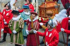 Ducasse De Mons oder Doudou in Mons, Belgien lizenzfreie stockbilder