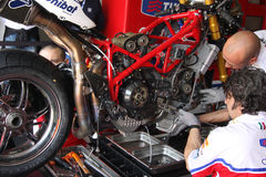 Ducati 1098R - Althea Racing maintenance stock image