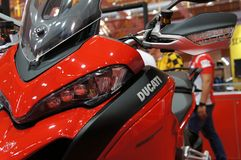 DUCATI emblem and logos at the Ducati motorcycle body. KUALA LUMPUR, MALAYSIA -MARCH 24, 2018: DUCATI emblem and logos at the Ducati motorcycle body. DUCATI is royalty free stock photo