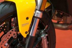DUCATI emblem and logos at the Ducati motorcycle body. KUALA LUMPUR, MALAYSIA -MARCH 24, 2018: DUCATI emblem and logos at the Ducati motorcycle body. DUCATI is stock images