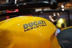 DUCATI emblem and logos at the Ducati motorcycle body. KUALA LUMPUR, MALAYSIA -MARCH 24, 2018: DUCATI emblem and logos at the Ducati motorcycle body. DUCATI is stock photography