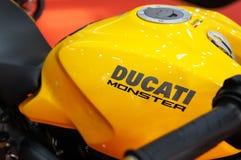 DUCATI emblem and logos at the Ducati motorcycle body. KUALA LUMPUR, MALAYSIA -MARCH 24, 2018: DUCATI emblem and logos at the Ducati motorcycle body. DUCATI is royalty free stock photos