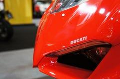DUCATI emblem and logos at the Ducati motorcycle body. KUALA LUMPUR, MALAYSIA -MARCH 24, 2018: DUCATI emblem and logos at the Ducati motorcycle body. DUCATI is royalty free stock photography