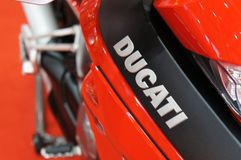DUCATI emblem and logos at the Ducati motorcycle body. KUALA LUMPUR, MALAYSIA -MARCH 24, 2018: DUCATI emblem and logos at the Ducati motorcycle body. DUCATI is stock photo