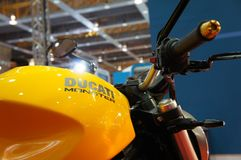 DUCATI emblem and logos at the Ducati motorcycle body. KUALA LUMPUR, MALAYSIA -MARCH 24, 2018: DUCATI emblem and logos at the Ducati motorcycle body. DUCATI is royalty free stock images
