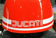 DUCATI logos at the motorcycle body. SERDANG, MALAYSIA -JULY 29, 2017: DUCATI logos at the motorcycle body. DUCATI is one of the famous motorcycle manufactures royalty free stock images