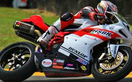 Ducati 848 loppmotorcykel Arkivfoto