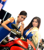 Ducati motor Model in motorshow Royalty Free Stock Images