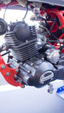 Ducati motorcycle engine. A portrait view of an engine of a classic Ducati motorcycle on display outside a cafe restaurant. Photo taken on December 23rd, 2014 Royalty Free Stock Images