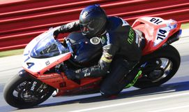 Ducati race motorcycle. Chad Lintner races the Ducati 848 pro race bike royalty free stock image