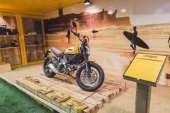 Ducati Scrambler motorbike at EICMA 2014 in Milan, Italy Stock Photos