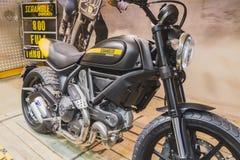 Ducati Scrambler motorbike at EICMA 2014 in Milan, Italy Stock Image