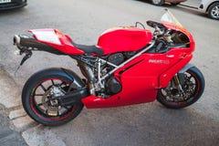 Ducati 749, sportcykel av det Ducati motorinnehavet Arkivfoto