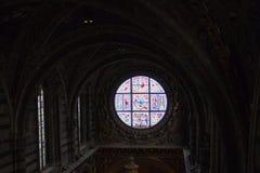 Duccio di buoninsegna Di Siena för duomo för målat glassfönster Inre av den storstads- domkyrkan av Santa Maria Assunta tuscany Arkivbild