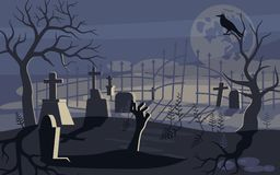Duch i żywy trup na Strasznym Halloweenowym tle ilustracja wektor