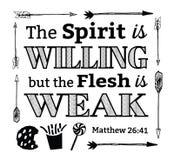 Duch jest Willing ale ciało jest Słabym emblematem royalty ilustracja