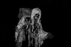 Duch na Halloween, kościec w czarnym tle Zdjęcia Stock