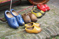 Duch wooden shoes - clogs Stock Photos